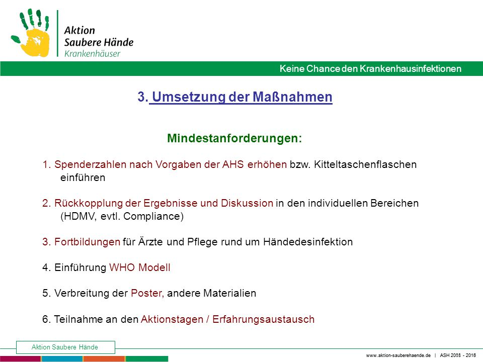 3. Umsetzung der Maßnahmen Mindestanforderungen: