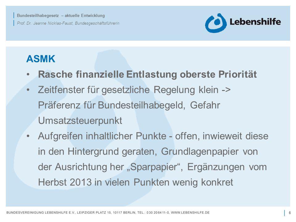 ASMK Rasche finanzielle Entlastung oberste Priorität.