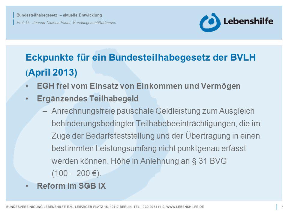 Eckpunkte für ein Bundesteilhabegesetz der BVLH (April 2013)