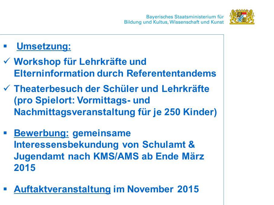 Umsetzung: Workshop für Lehrkräfte und Elterninformation durch Referententandems.