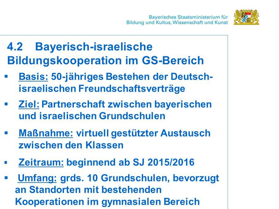 4.2 Bayerisch-israelische Bildungskooperation im GS-Bereich