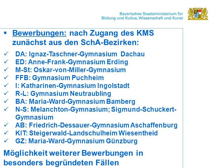 Bewerbungen: nach Zugang des KMS zunächst aus den SchA-Bezirken: