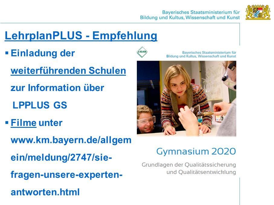 LehrplanPLUS - Empfehlung