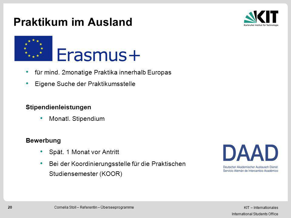 Praktikum im Ausland für mind. 2monatige Praktika innerhalb Europas