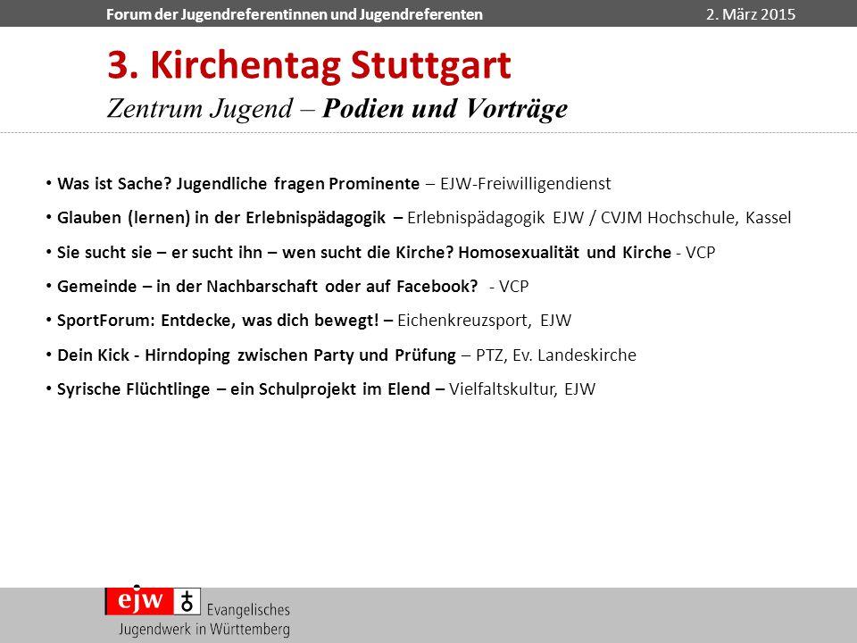 3. Kirchentag Stuttgart Zentrum Jugend – Podien und Vorträge
