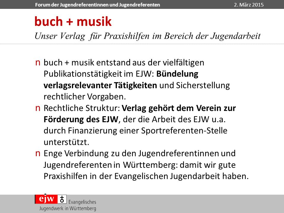 buch + musik Unser Verlag für Praxishilfen im Bereich der Jugendarbeit