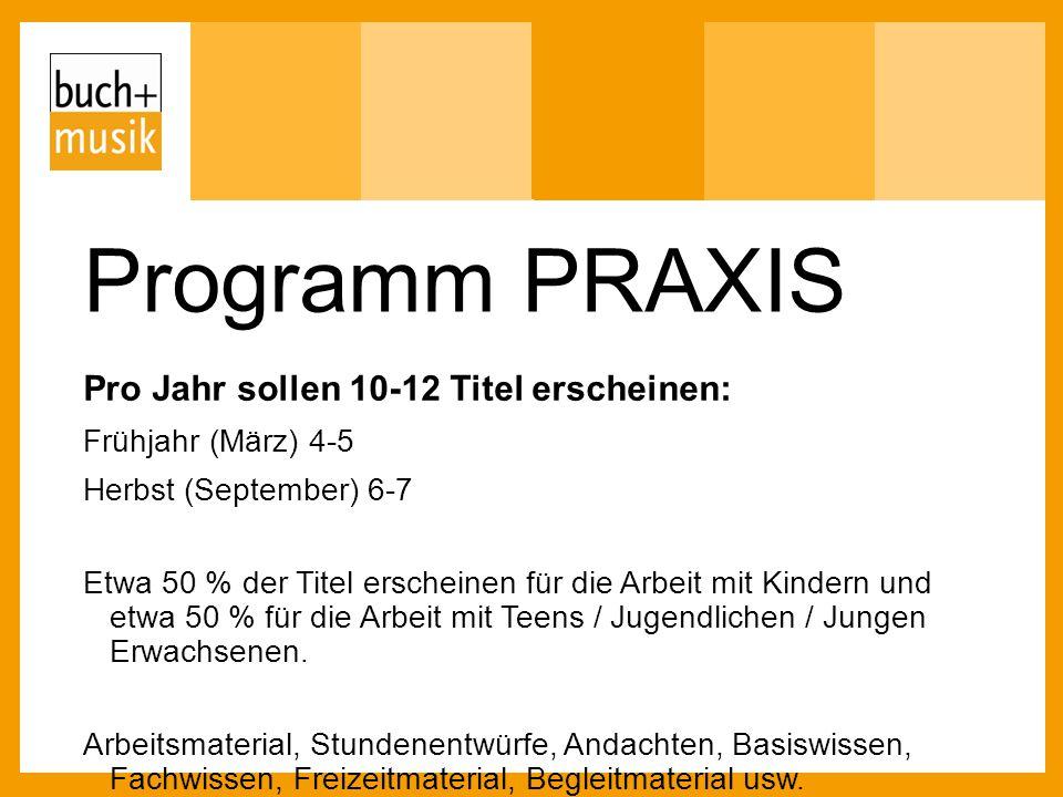 Programm PRAXIS Pro Jahr sollen 10-12 Titel erscheinen: