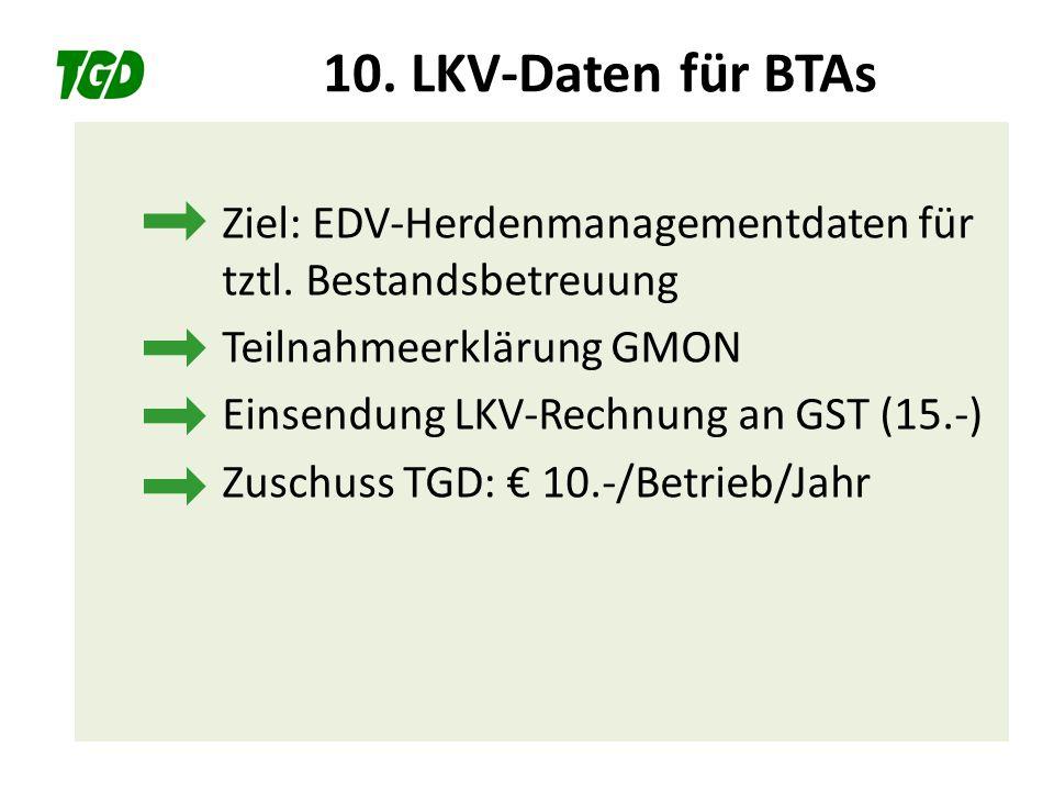 10. LKV-Daten für BTAs Ziel: EDV-Herdenmanagementdaten für tztl. Bestandsbetreuung. Teilnahmeerklärung GMON.