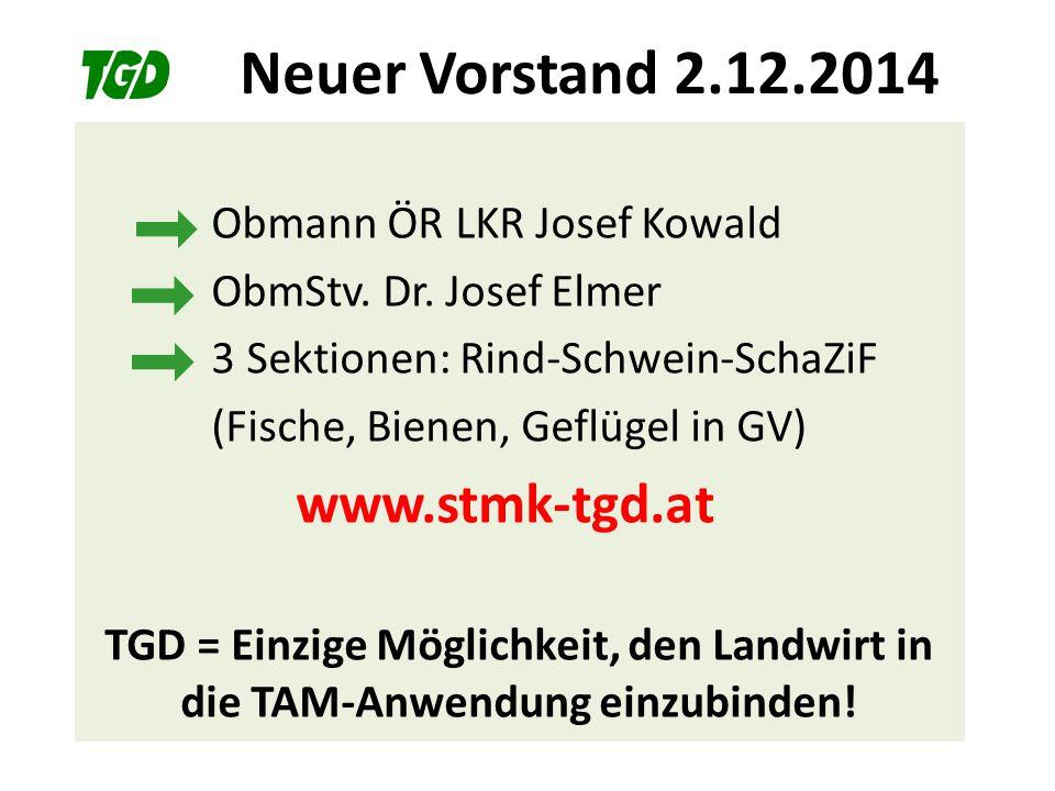 Neuer Vorstand 2.12.2014 Obmann ÖR LKR Josef Kowald