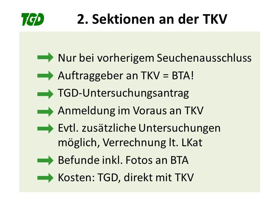 2. Sektionen an der TKV Nur bei vorherigem Seuchenausschluss