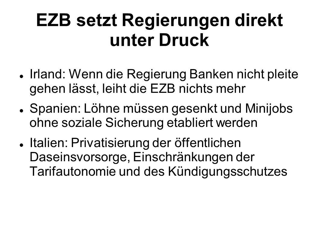 EZB setzt Regierungen direkt unter Druck