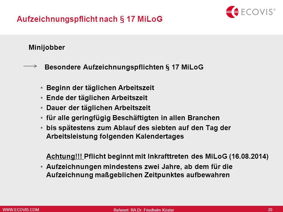 Aufzeichnungspflicht nach § 17 MiLoG
