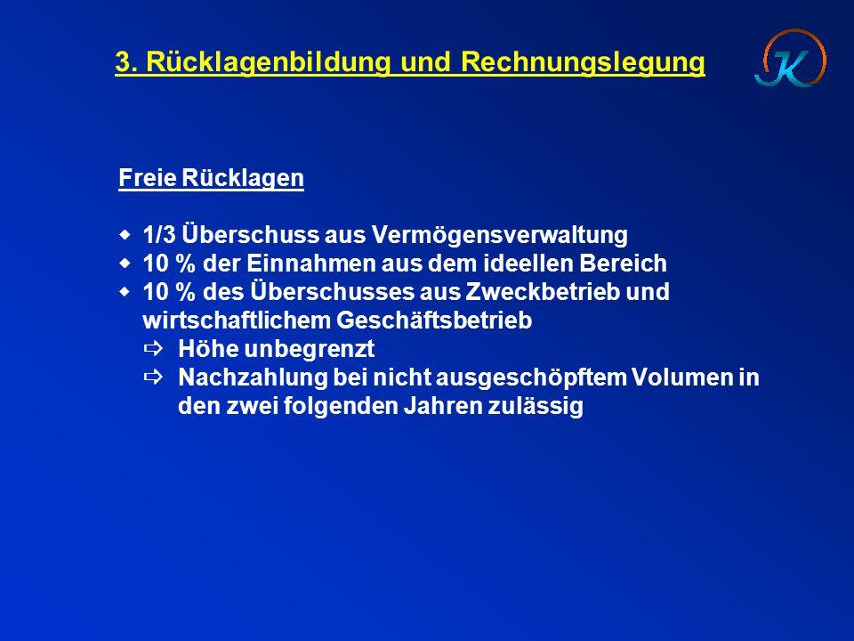 3. Rücklagenbildung und Rechnungslegung