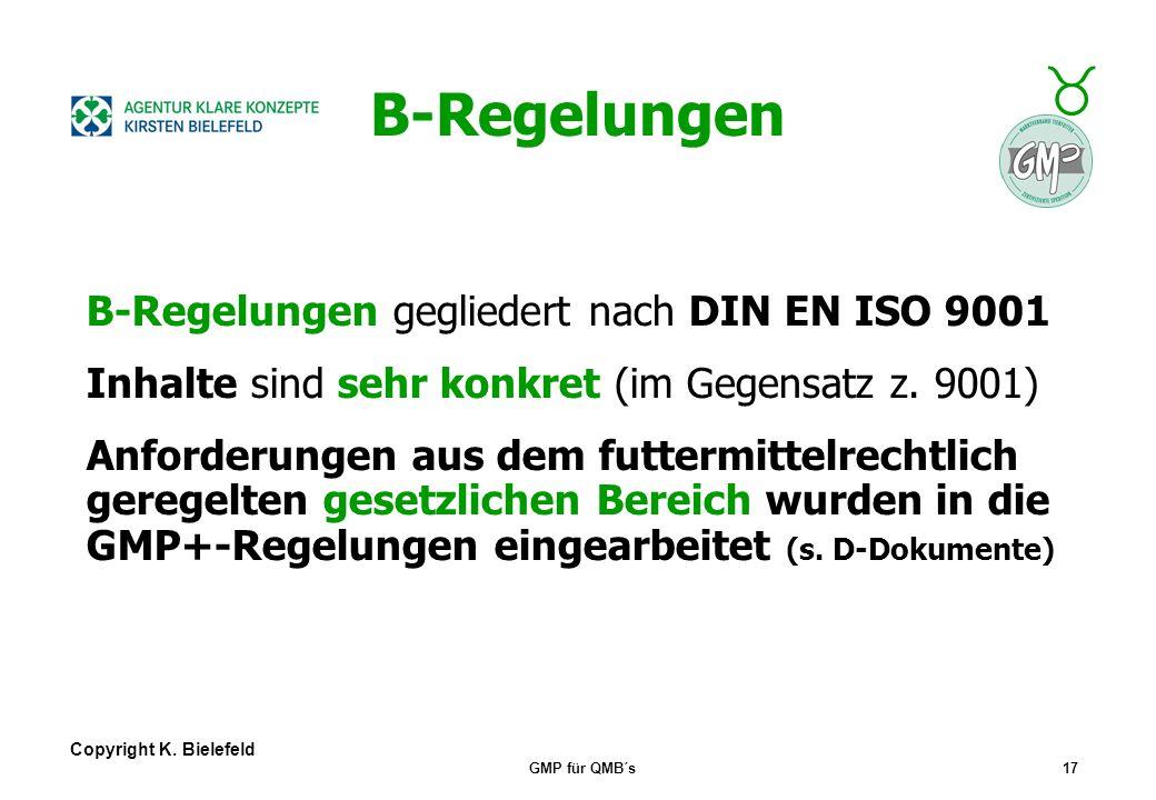 B-Regelungen B-Regelungen gegliedert nach DIN EN ISO 9001
