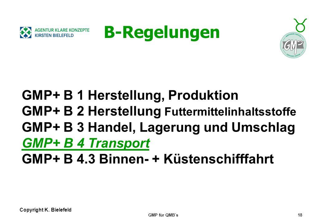 B-Regelungen GMP+ B 1 Herstellung, Produktion