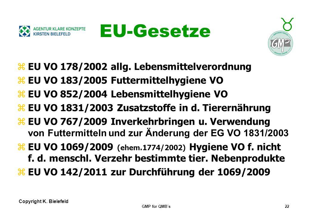 EU-Gesetze EU VO 178/2002 allg. Lebensmittelverordnung