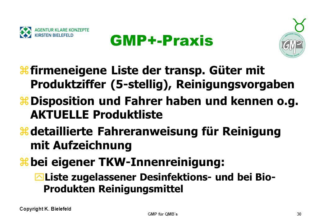 GMP+-Praxis firmeneigene Liste der transp. Güter mit Produktziffer (5-stellig), Reinigungsvorgaben.
