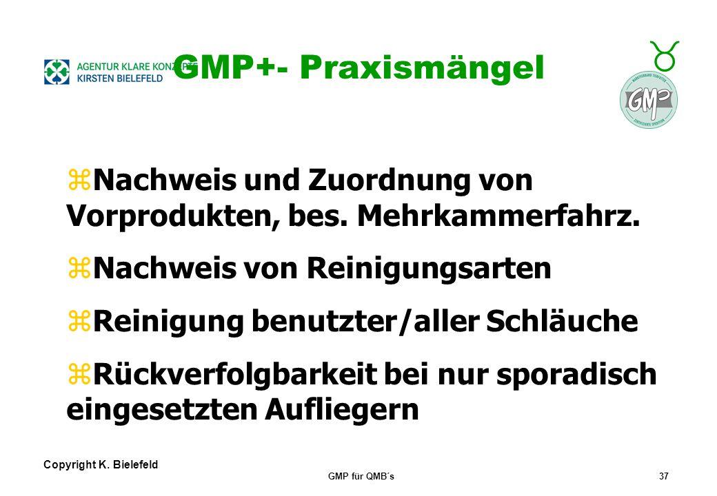 GMP+- Praxismängel Nachweis und Zuordnung von Vorprodukten, bes. Mehrkammerfahrz. Nachweis von Reinigungsarten.