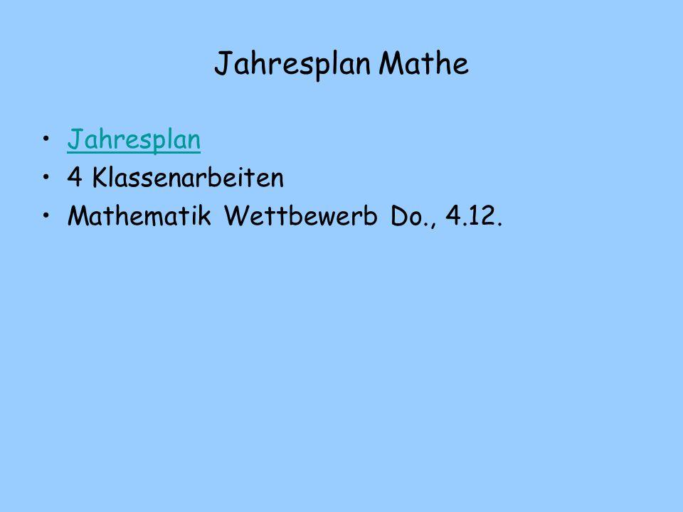 Jahresplan Mathe Jahresplan 4 Klassenarbeiten