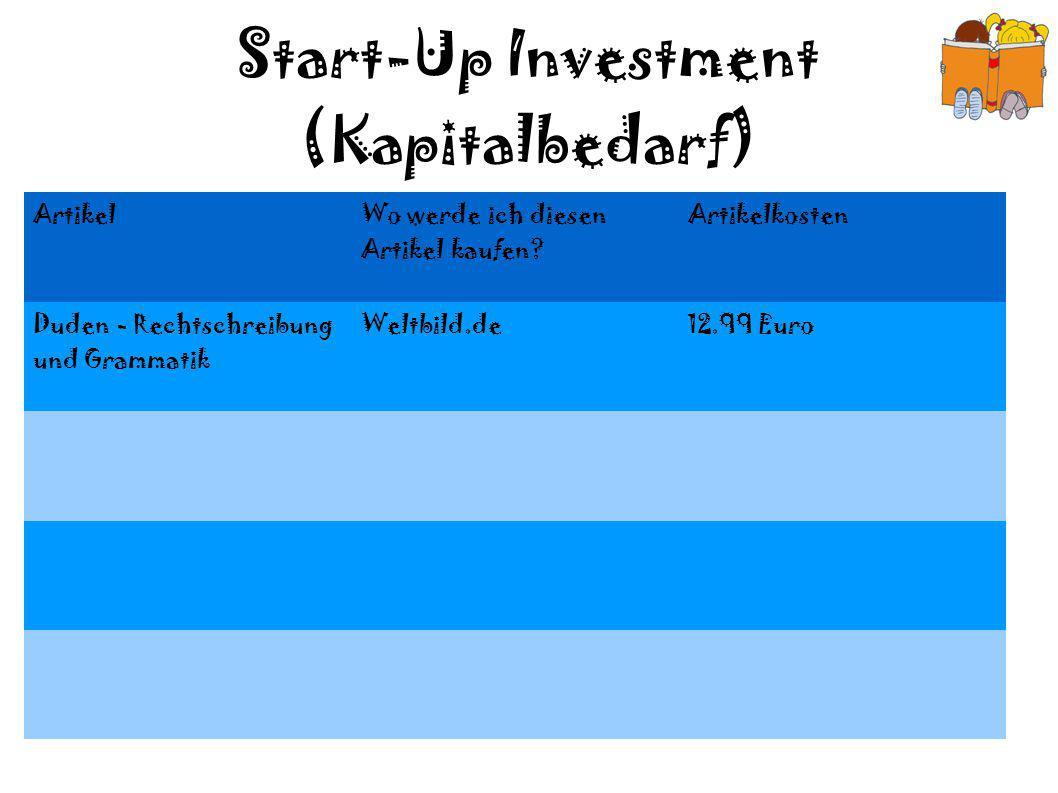 Start-Up Investment (Kapitalbedarf)