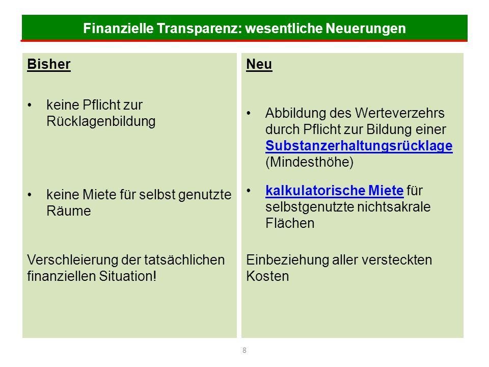 Finanzielle Transparenz: wesentliche Neuerungen