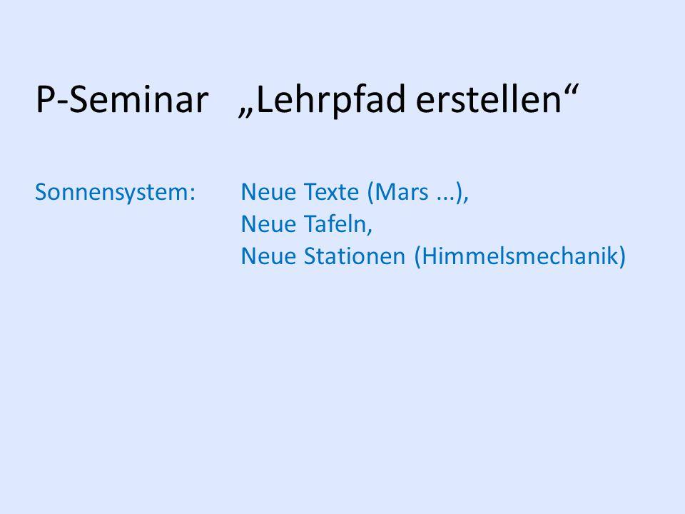 """P-Seminar """"Lehrpfad erstellen"""
