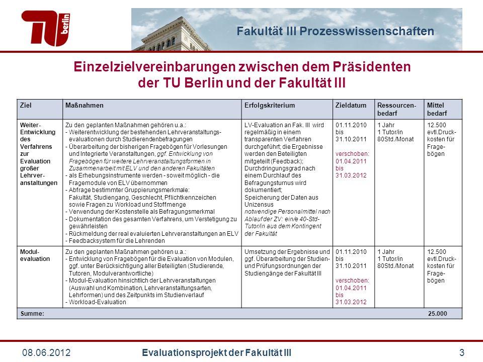 Einzelzielvereinbarungen zwischen dem Präsidenten der TU Berlin und der Fakultät III