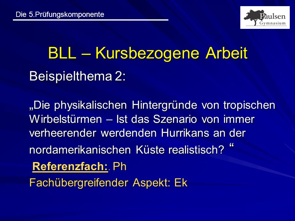 BLL – Kursbezogene Arbeit