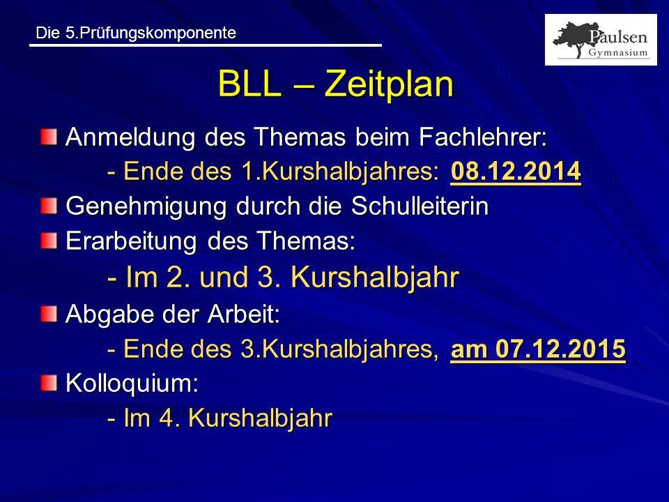 BLL – Zeitplan Anmeldung des Themas beim Fachlehrer: