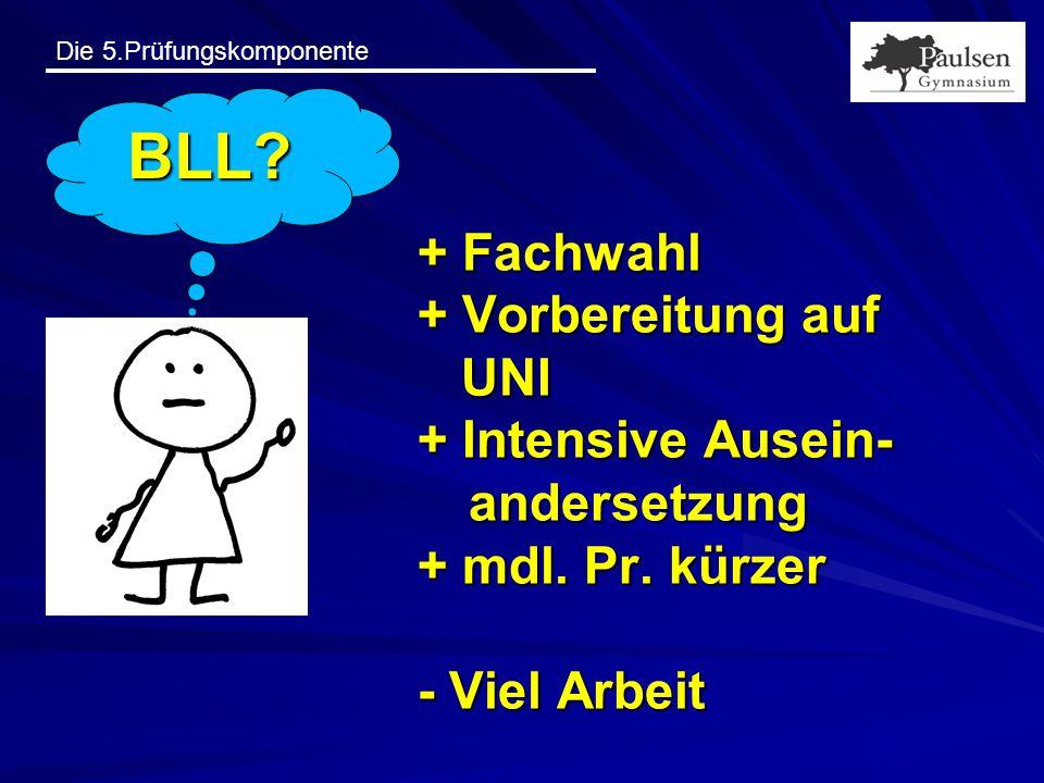 BLL. + Fachwahl + Vorbereitung auf UNI + Intensive Ausein- andersetzung + mdl.