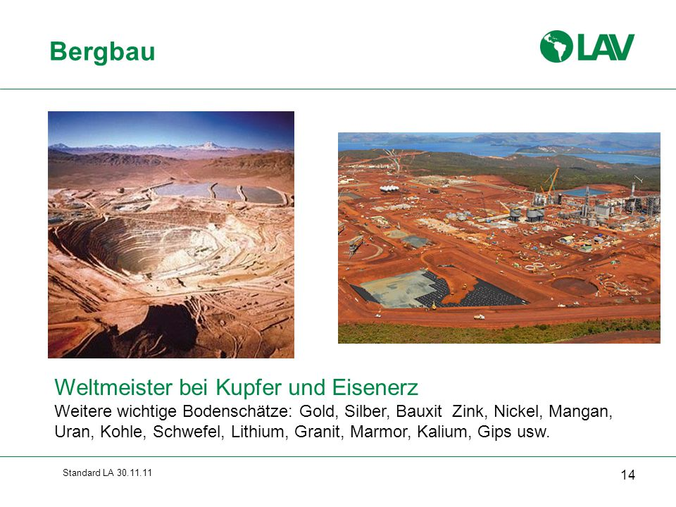 Bergbau Weltmeister bei Kupfer und Eisenerz