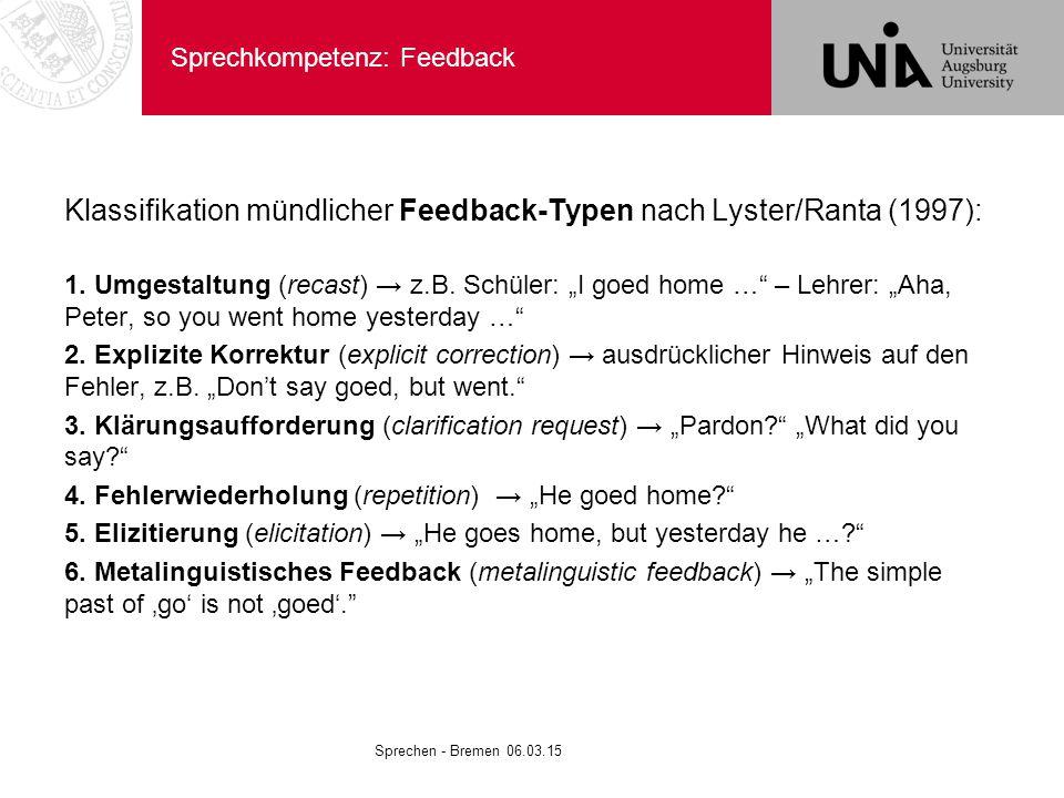 Sprechkompetenz: Feedback