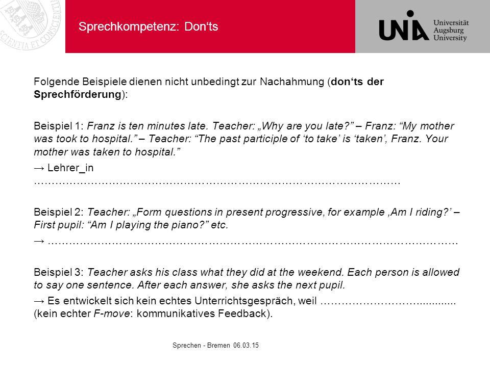Sprechkompetenz: Don'ts