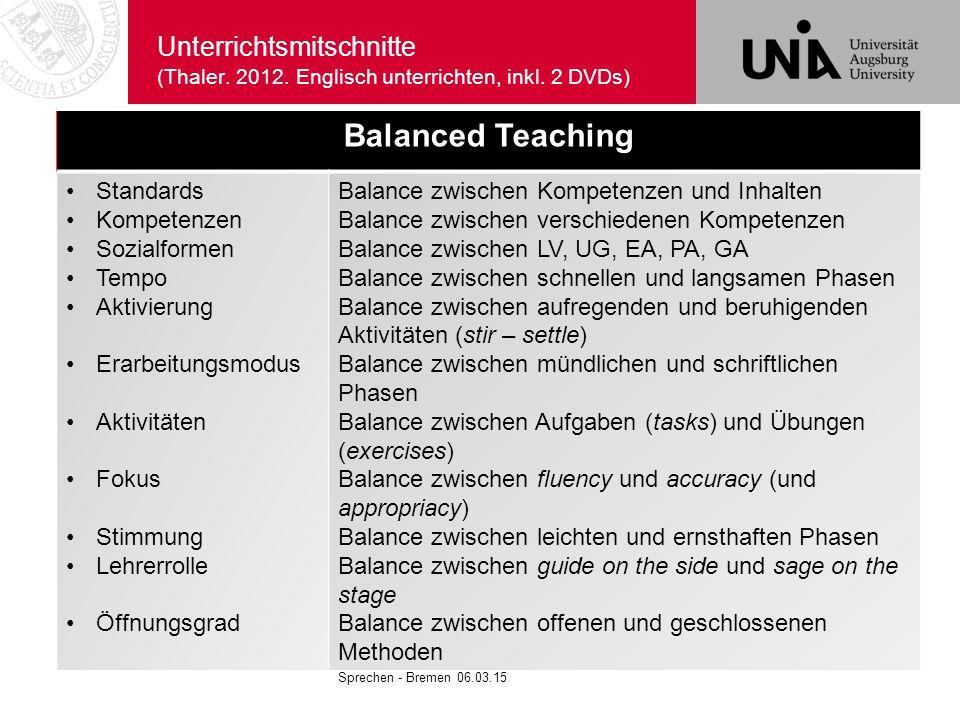 Unterrichtsmitschnitte (Thaler. 2012. Englisch unterrichten, inkl