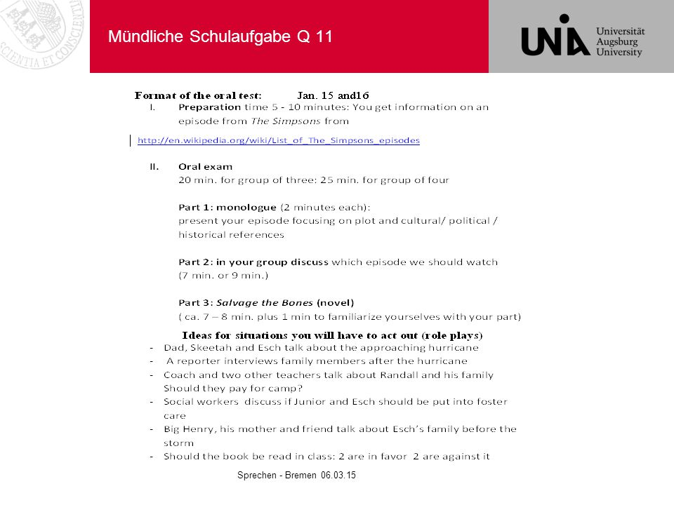 Mündliche Schulaufgabe Q 11