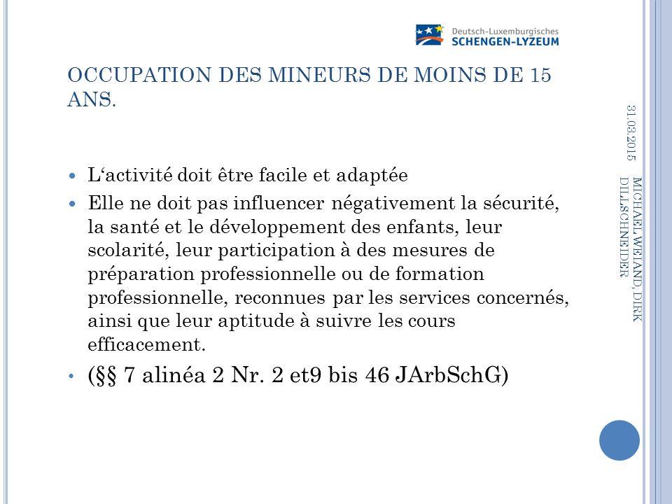 OCCUPATION DES MINEURS DE MOINS DE 15 ANS.