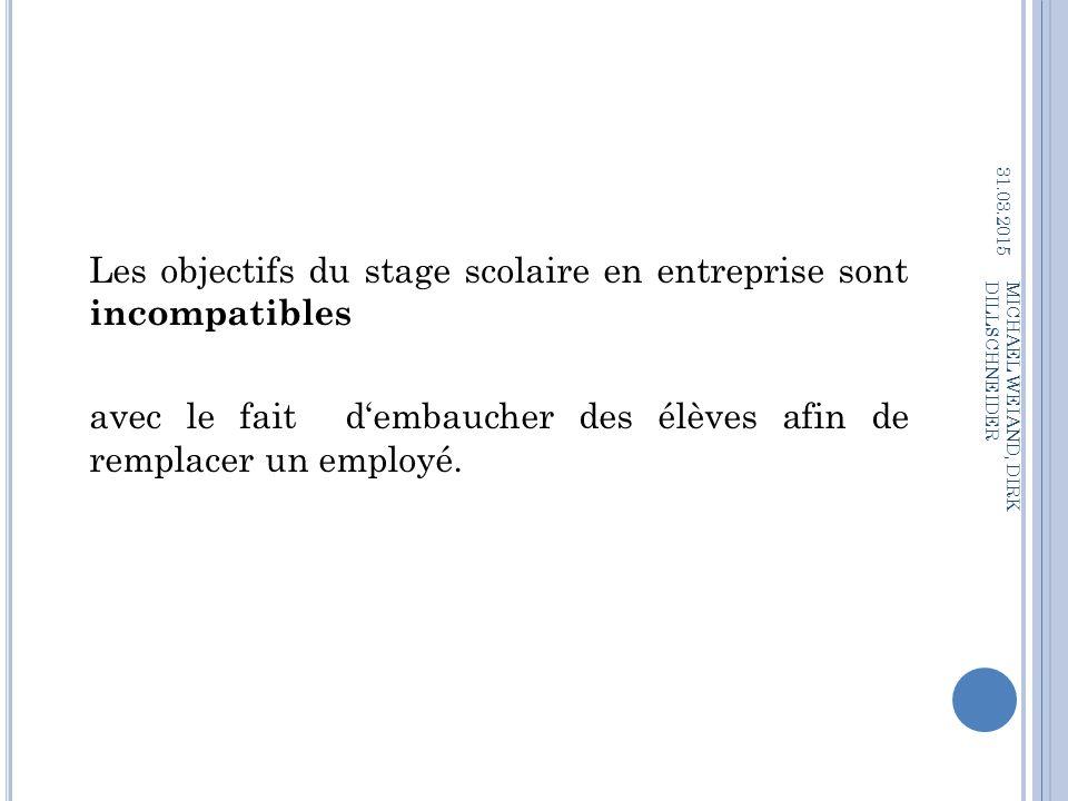 09.04.2017 Les objectifs du stage scolaire en entreprise sont incompatibles avec le fait d'embaucher des élèves afin de remplacer un employé.