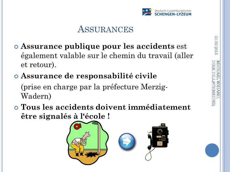Assurances 09.04.2017. Assurance publique pour les accidents est également valable sur le chemin du travail (aller et retour).