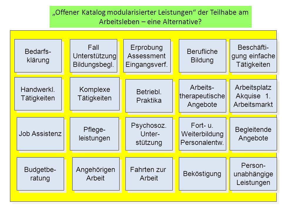 """""""Offener Katalog modularisierter Leistungen der Teilhabe am Arbeitsleben – eine Alternative"""