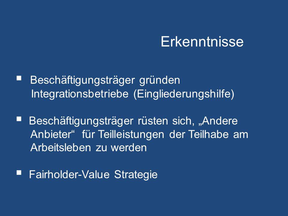 Erkenntnisse Beschäftigungsträger gründen Integrationsbetriebe (Eingliederungshilfe)