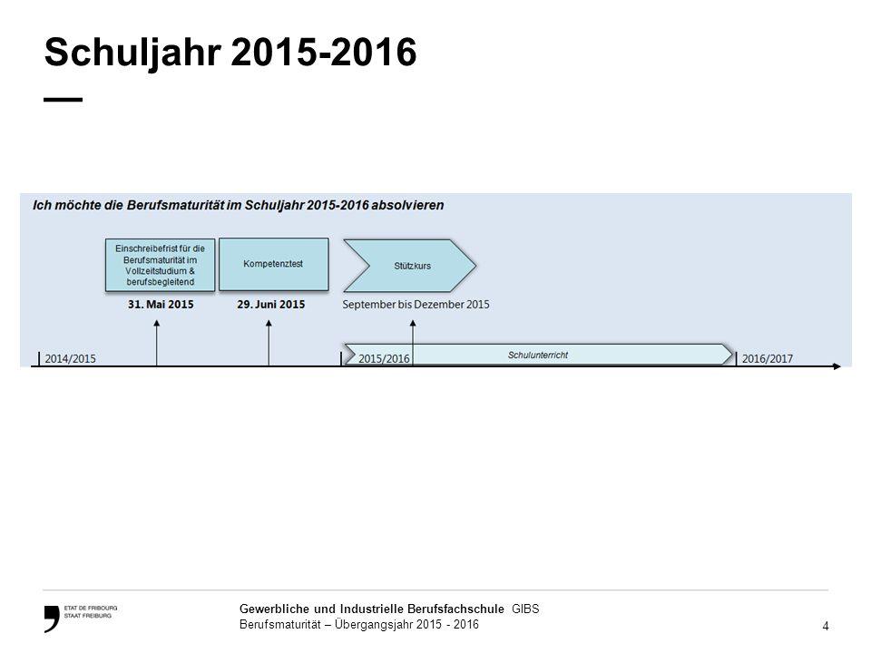 Schuljahr 2015-2016 —