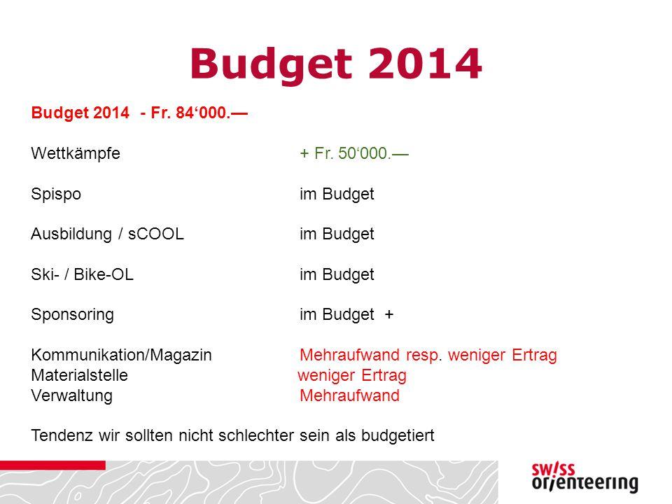 Budget 2014 Budget 2014 - Fr. 84'000.— Wettkämpfe + Fr. 50'000.—