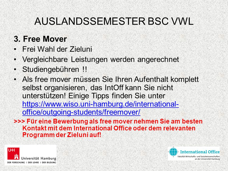 AUSLANDSSEMESTER BSC VWL