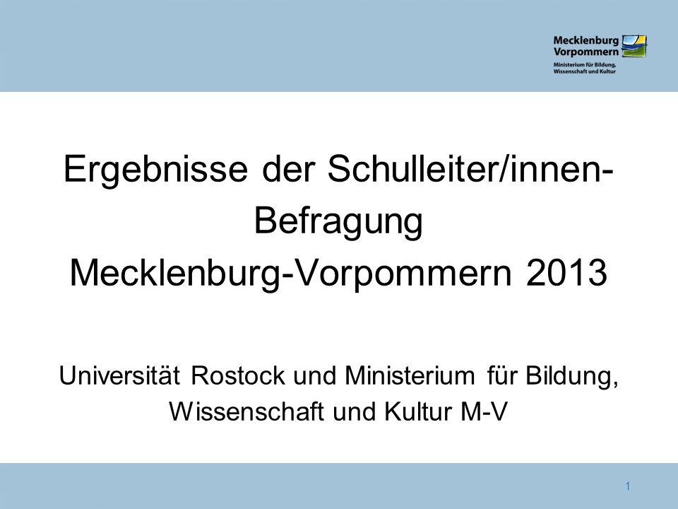 Ergebnisse der Schulleiter/innen-Befragung Mecklenburg-Vorpommern 2013