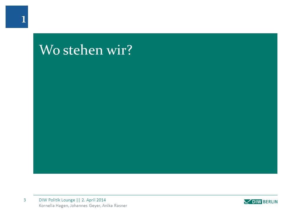 1 Wo stehen wir DIW Politik Lounge || 2. April 2014