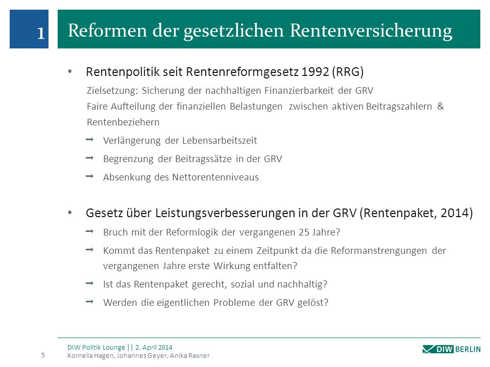 1 Reformen der gesetzlichen Rentenversicherung