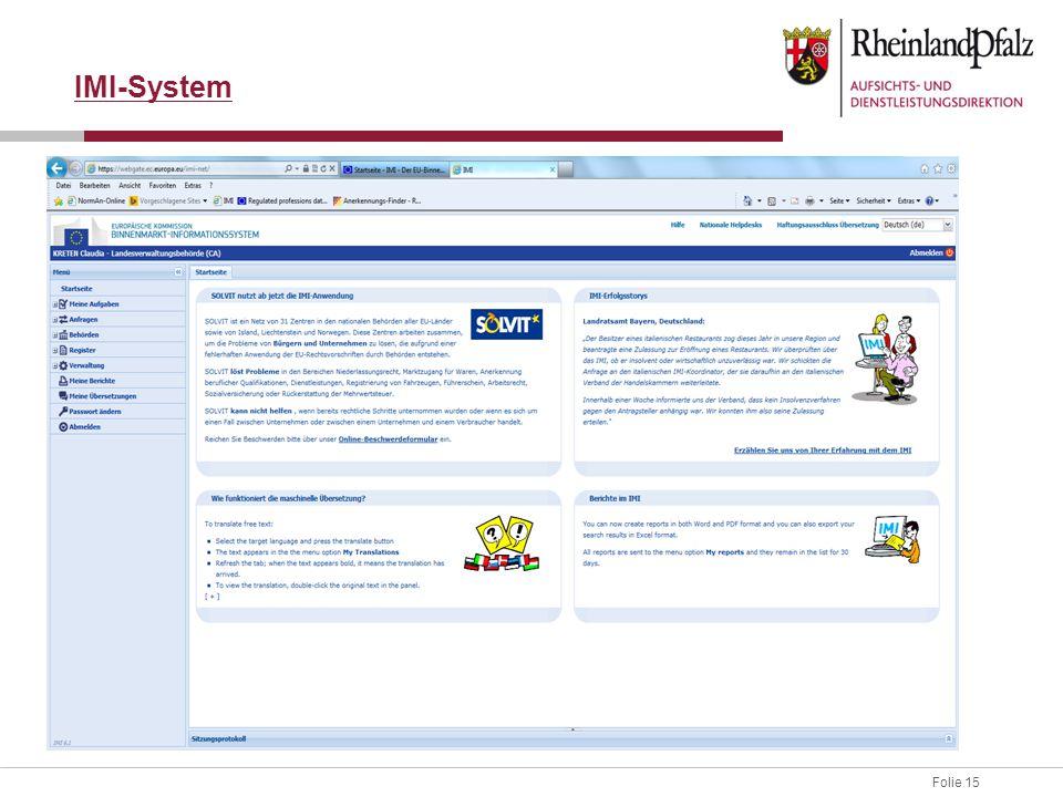 IMI-System IMI-System einschließlich einloggen erklären