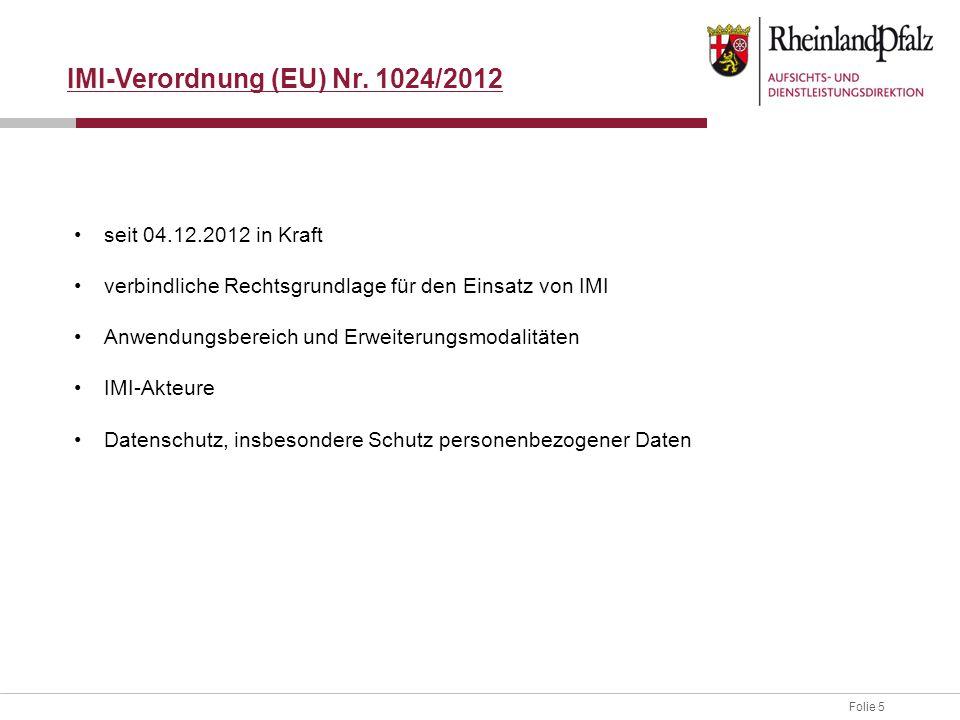 IMI-Verordnung (EU) Nr. 1024/2012
