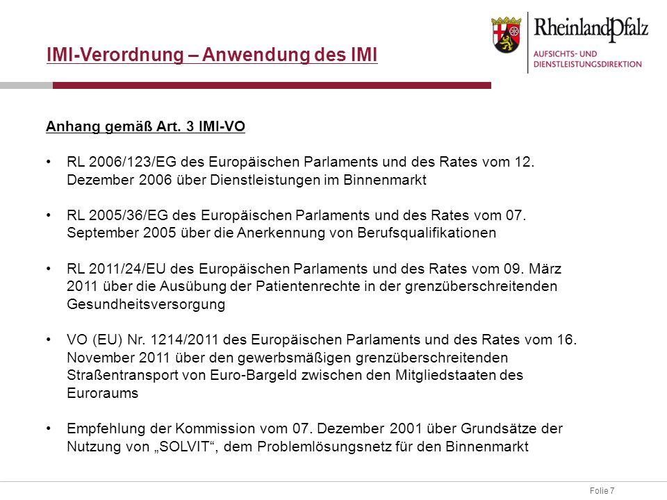 IMI-Verordnung – Anwendung des IMI