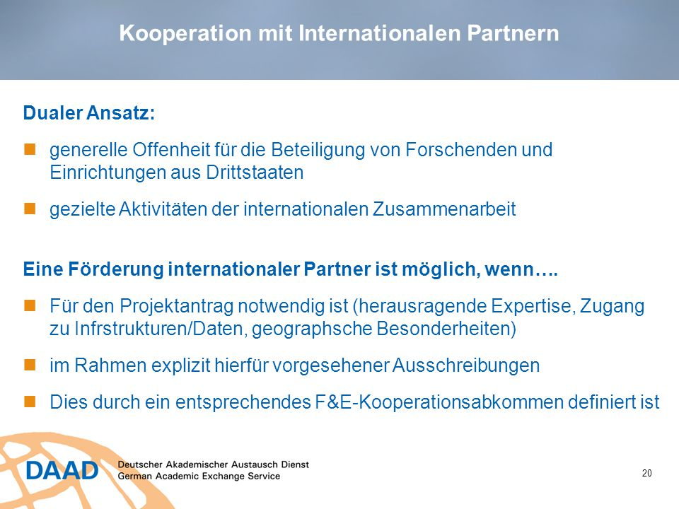 Kooperation mit Internationalen Partnern